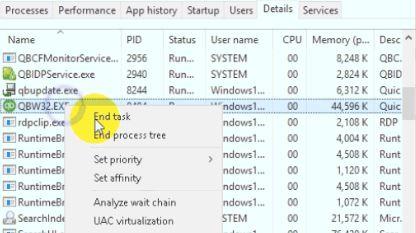 End task in QuickBooks-screenshot