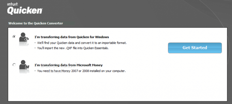 I am transferring data from Quicken for windows - Screenshot Image