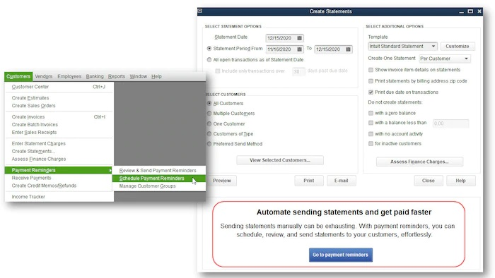 Automated send statements option - Screenshot Image