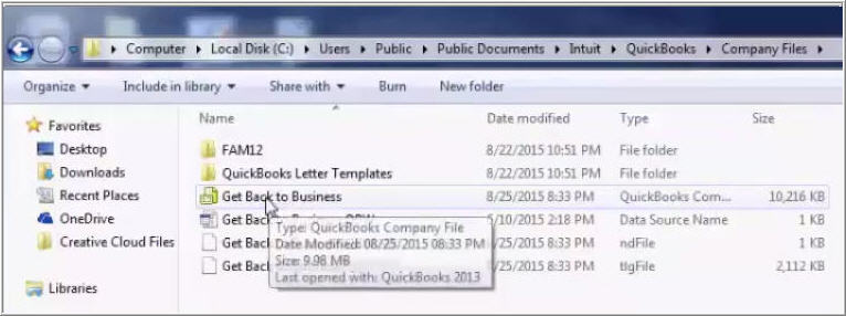 Copy the company file in the new folder - Screenshot Image