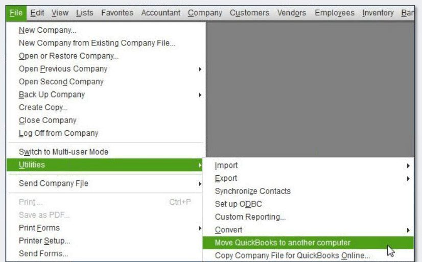 Move QuickBooks to another computer - Screenshot Image 0