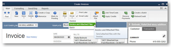 PDF Invoice and attachment review option - Screenshot Image