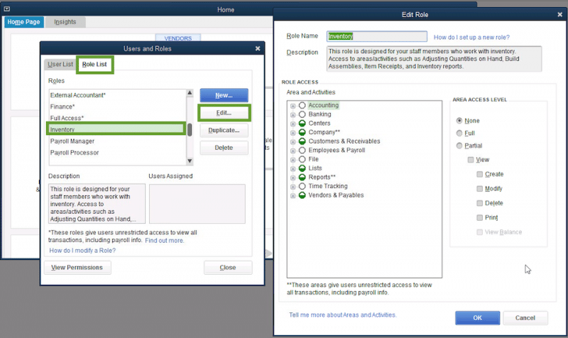 Set up users and roles in QuickBooks - Screenshot