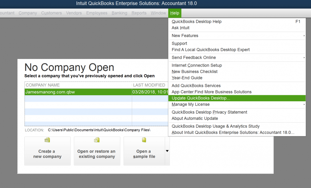 Update QuickBooks Desktop - Screenshot Image