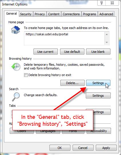 Check the internet explorer settings - Screenshot Image
