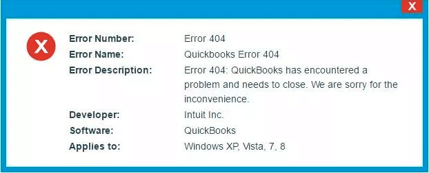 QuickBooks Error Code 404 - Screenshot Image