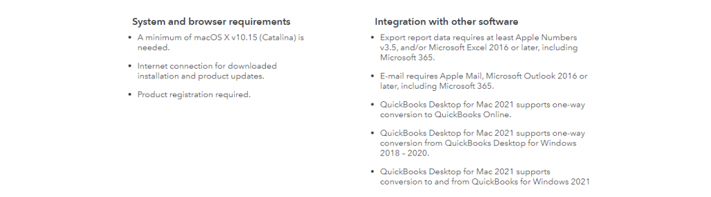 System Requirements of QuickBooks Desktop for Mac 2021 - Screenshot Image