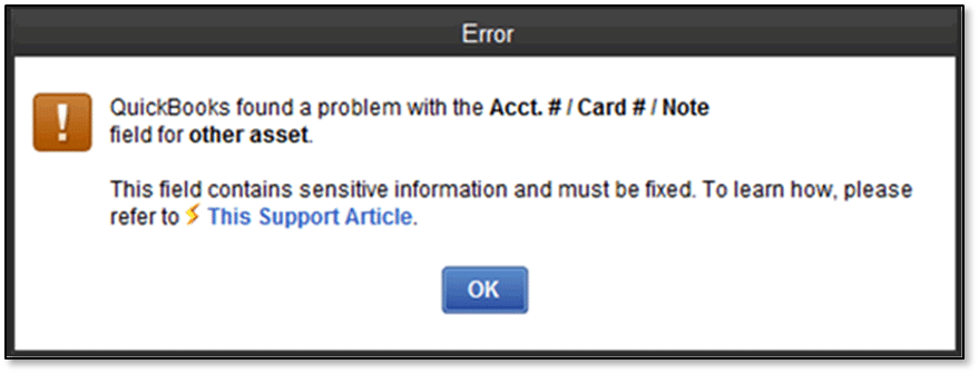 Verify Error (QuickBooks found a problem with the Acct, Card or Note field for other asset) - Screenshot Image