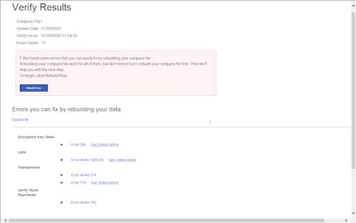 Verify results screen - Screenshot Image
