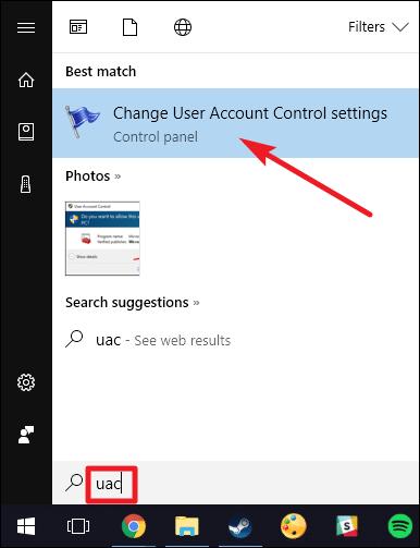 Change user account control settings - Screenshot Image