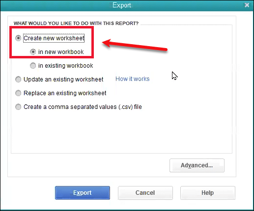 Create new worksheet - Screenshot Image