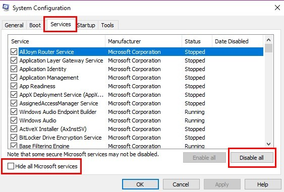 Hide all Microsoft services - Screenshot Image