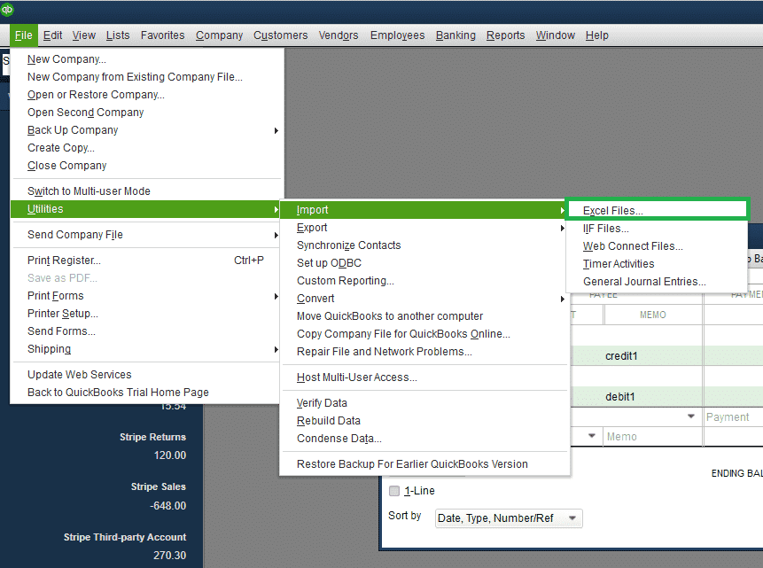 Import Excel Files in QuickBooks desktop - Screenshot Image