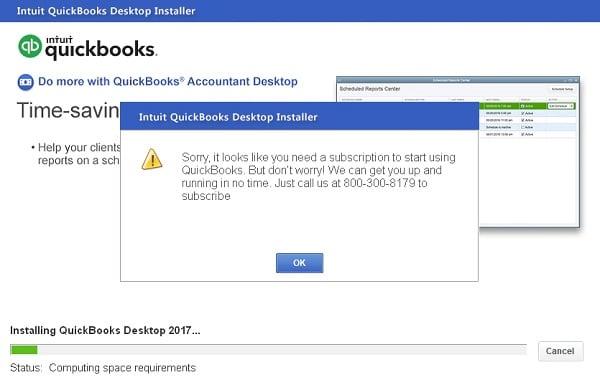 QuickBooks Desktop Subscription Error - Screenshot Image