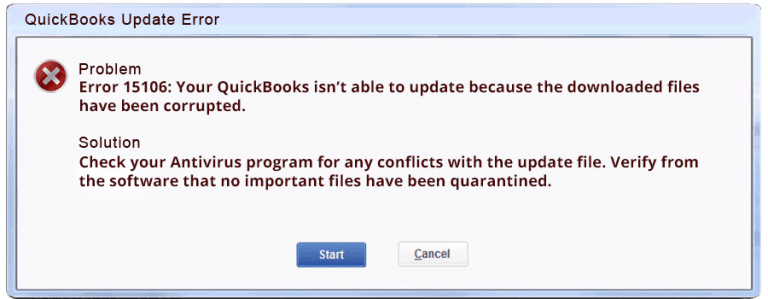 QuickBooks Error 15106 (The update program cannot be opened) - Featuring Image
