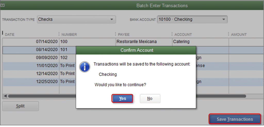 QuickBooks batch enter transactions - Screenshot Image