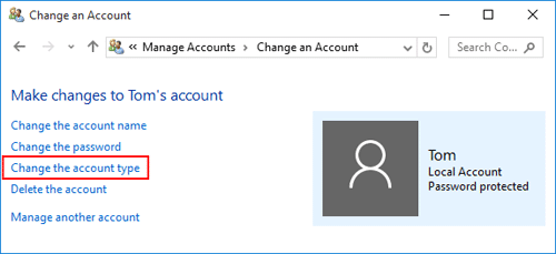 Switch the user account to admin account - Screenshot Image