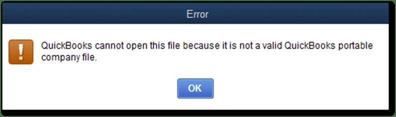 Cannot open QuickBooks portable company file - Screenshot Image