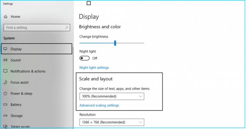 Change Windows display settings - Screenshot Image