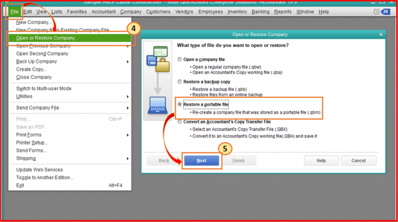 Restore QuickBooks portable company file - Screenshot Image