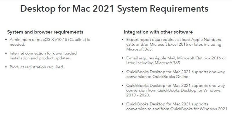 System Requirement of QuickBooks desktop for Mac 2021 - Screenshot Image
