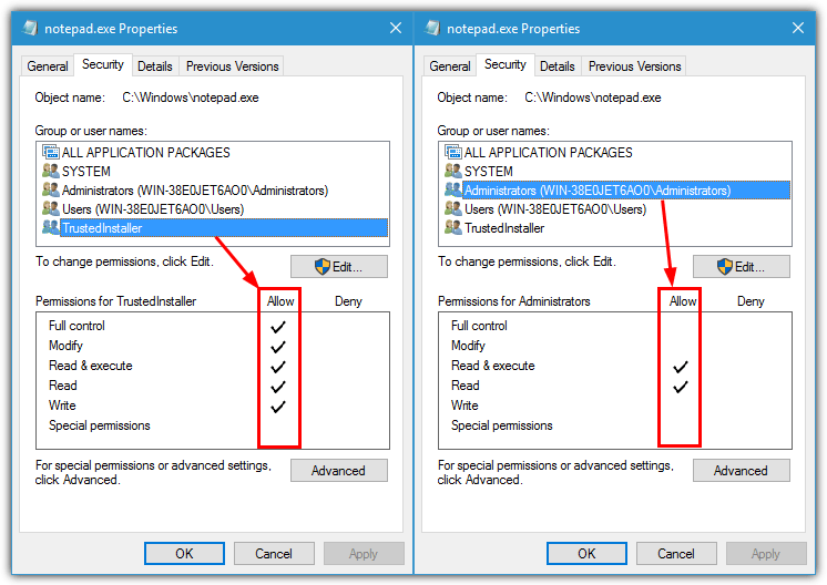 Allow full control - Screenshot Image