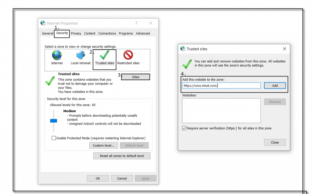 Check internet firewall and internet security settings and allow QuickBooks connections - Screenshot Image