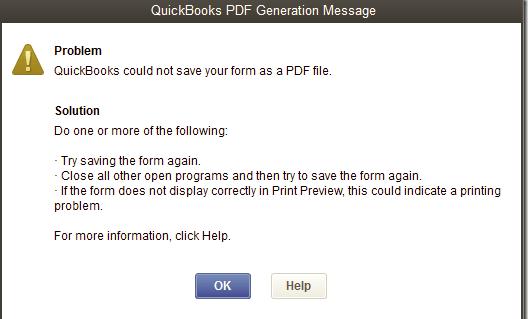 PDF error message in QuickBooks desktop - Screenshot Image
