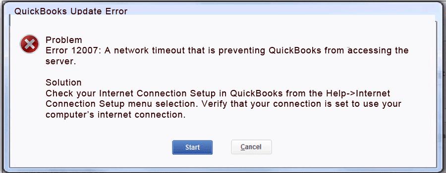 QuickBooks Payroll Update Error 12007 - Screenshot Image