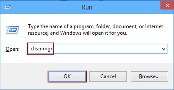Type cleanmgr in Run box - Screenshot Image