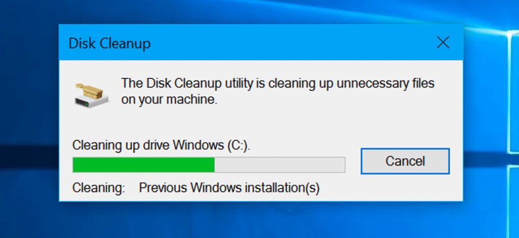 Cleaning up drive Windows - Screenshot Image