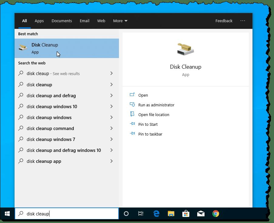 Disk cleanup - Screenshot Image