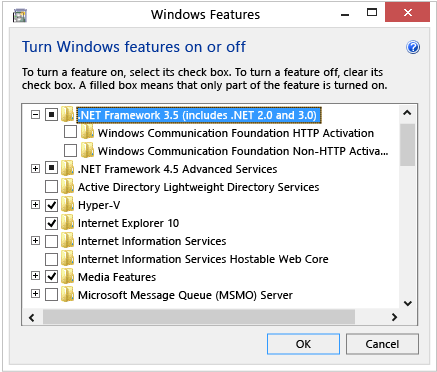 Steps to turn .NET framework 3.5 SP1 - Screenshot Image