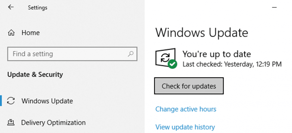 Check for updates in windows 10 - Screenshot Image