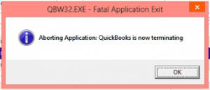 Fatal Error - QuickBooks is now terminating - Screenshot Image