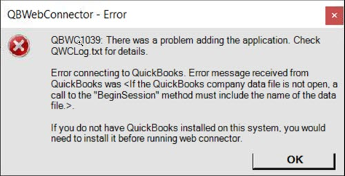 QBWC1039 - There was a problem adding the application. Check QBWCLog.txt for details - Screenshot Image