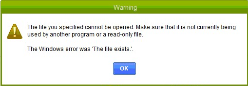 The file you specified cannot be opened or The file not exists - Screenshot Image
