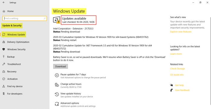 Update Windows - Screenshot Image