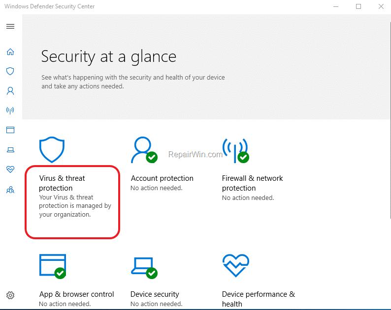 Virus and threat protecting - Screenshot Image