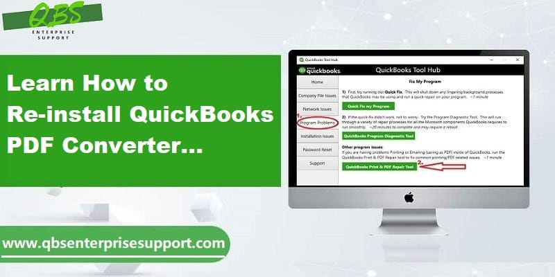 How to Install re-install and troubleshoot QuickBooks PDF converter issues - Featuring Image
