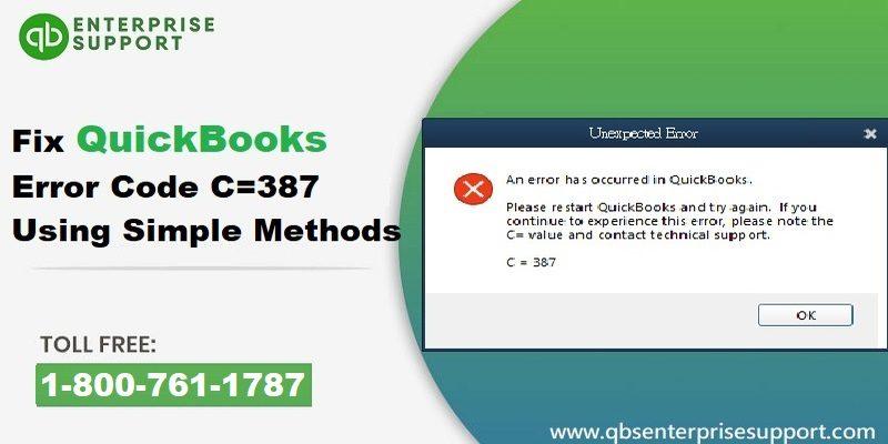 Resolve QuickBooks Error code C=387 Unexpected Error - Featuring Image