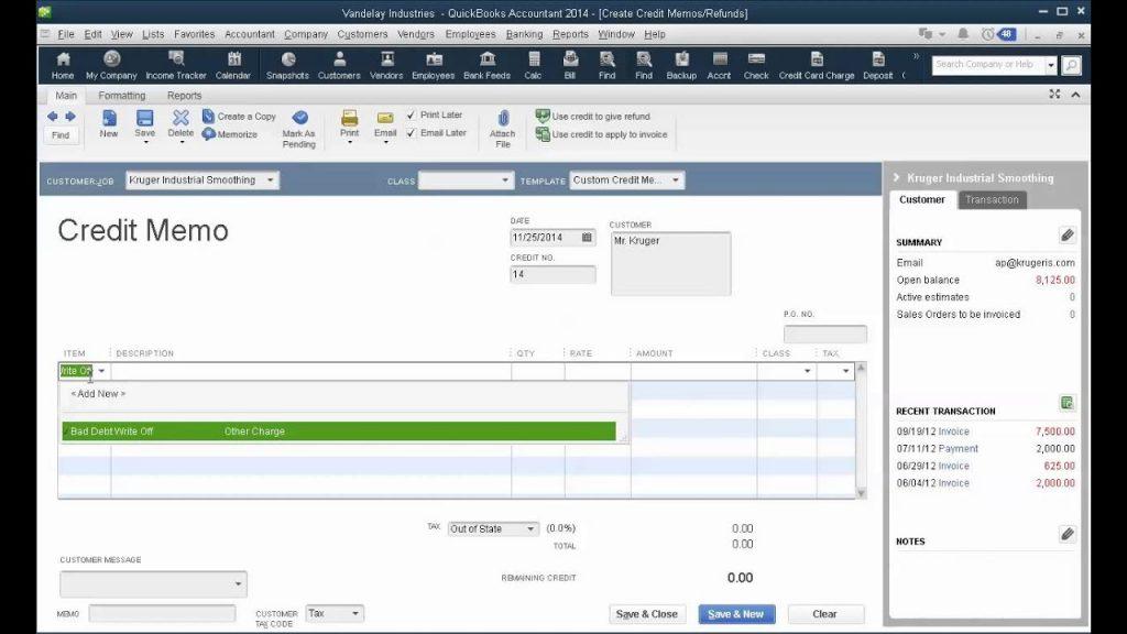 Write Off Bad Debts in QuickBooks Desktop - Screenshot Image