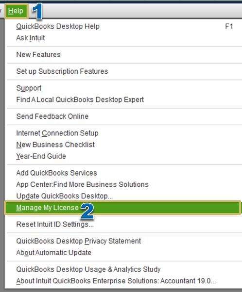 Manage my license - Screenshot Image