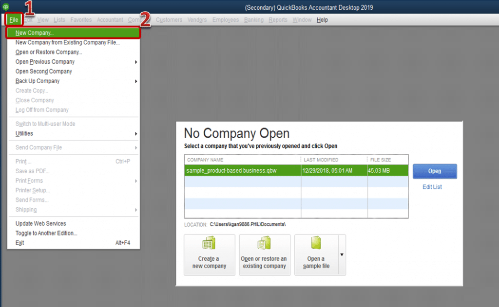 New company option - Screenshot Image