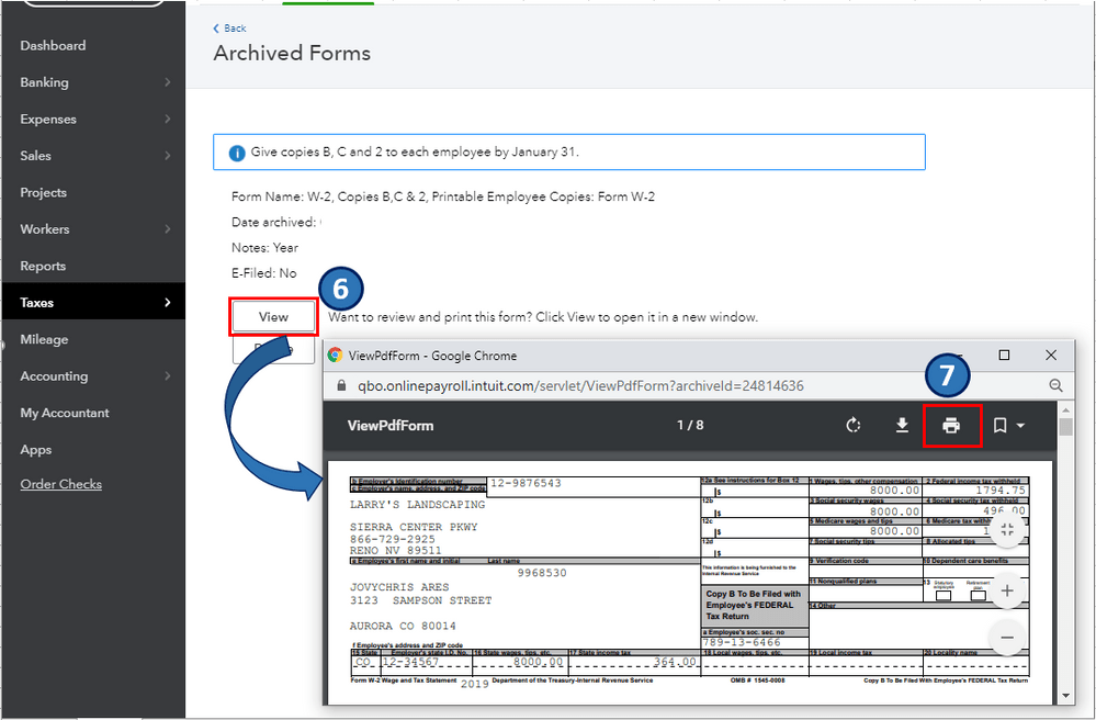 Print W-2 forms with the QuickBooks - Image 3