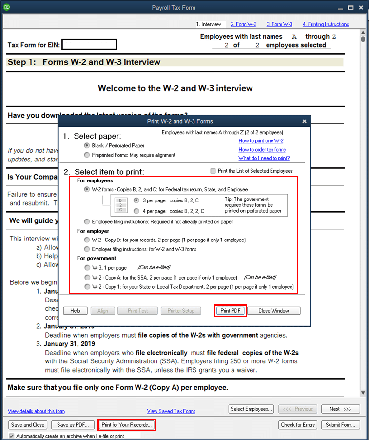 Print W-2 forms with the QuickBooks - Image 4
