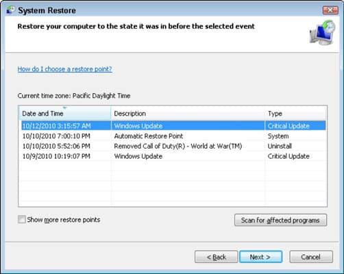 Restore your computer - Screenshot 1
