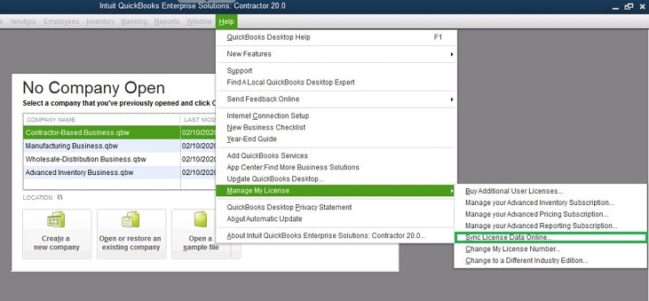 Sync license data online in QuickBooks - Screenshot Image