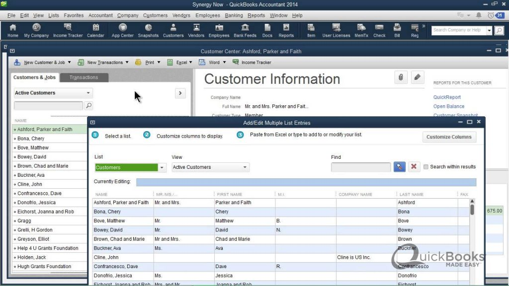 Customer Information tab - Screenshot Image