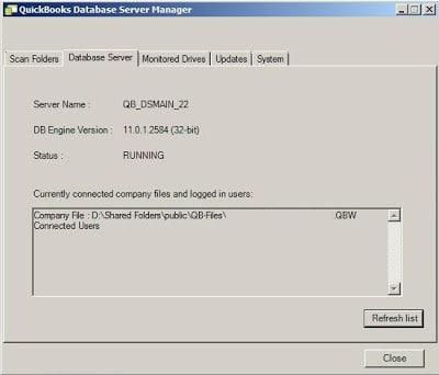Database Server tab in database server manager - Screenshot